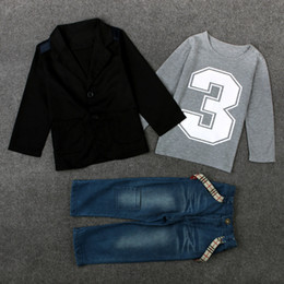 Wholesale Boys Jeans Jackets - Boys fashion denim outfits 3pc sets black suit jacket+number printing long sleeve T shirt+jeans cute toddlers casual outfits ins hot for 3-8