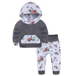 Wholesale grey colour suits - 2 PCS. newborn girls clothing set grey hooded top + floral Pants children's sport clothing 2pcs. suit girl clothes sets