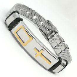 Wholesale Wrap Mesh Bracelet - Classic Cross Bracelet For Men Black  Gold Color Adjustable Mesh Strap Band Stainless Steel Male Wrap Bracelets