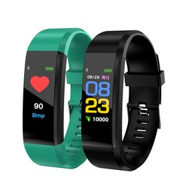 Wholesale mobile home screens - 115 Plus Smart Wristbands Color Screen For iPhone IOS and Android Smart Mobile Phone Wearable Bracelets Heart Rate Touch Operation Clock