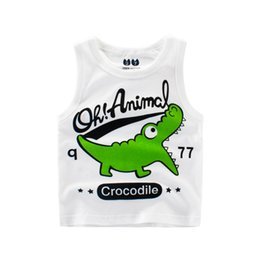 Wholesale Teen Boys T Shirt - 2018 Baby Cartoon Crocodile T Shirt Toddler Kids Boy Girl Clothes Teens Sleeveless T-Shirts For Boys Girls Tops Vest 2-10 Year