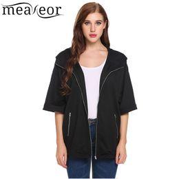 Wholesale Half Zip Hoodies - Meaneor 2018 Camiseta Tops Blusa Half Sleeve Solid Zip Up Loose Hoodie Coat Chaqueta Jaqueta Veste Sudadera con capucha