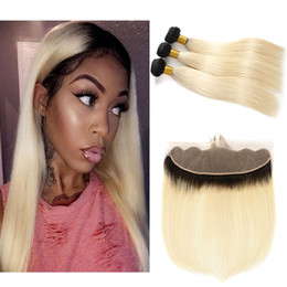 dark root brazilian hair Coupons - Ombre 1B 613 Dark Roots Blonde Hair With Ear To Ear 13*4 Full Lace Frontal Closure With 3 Bundles Straight Human Hair Weaves