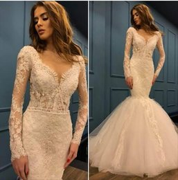 patrón del vestido de cuentas Rebajas Vestidos de novia de encaje de manga larga de sirena vintage 2019 marfil de tul de lujo vestidos de boda de playa patrones con cuentas