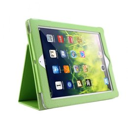 Cubierta de apple ipad2 online-Magnetic Auto Wake Up Sleep Cover Flip Litchi Funda de cuero Smart Stand Holder para Apple ipad2 3 4 QJY99