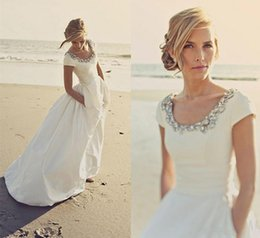 Wholesale Short Long Sleeve Wedding Dresses - 2018 Beach Wedding Dresses Cheap Capped Sleeves Rhinestone Scoop Neck Bridal Wedding Gowns with Pockets Long A Line Dress