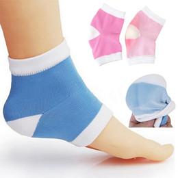Трещина с трещинами в ногах онлайн-1pair Soft Breathable Fabric Socks Toe-less Socks Gel Heel Silicone Moisturizing Gel Heel Cracked Foot Skin Care
