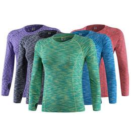 Estiramiento seco rápido t shirts online-Mujeres Fitness Running Sports Stretch Camiseta manga larga Quick Dry Tees Ejercicios de jogging Athletic Yoga Compression Tops
