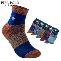 Calcetines invierno calidad hombre online-5 par / lote alta calidad pier polo marca hombres calcetines gruesos Meias invierno calcetines de algodón fresco para hombre calcetines ocasionales calcetines hombre