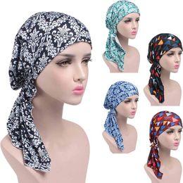 Femmes Imprimé Cancer Chemo Coton Turban Chapeaux Casual Ajusté À Volants Bandanas Musulman Foulard Multicolore 2018 Chaud ? partir de fabricateur