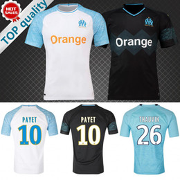 Wholesale marseille football jersey - 2018 2019 Olympique Marseille Soccer jersey Home white PAYET THAUVIN football uniform 18 19 Marseille Maillot de foot