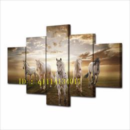 Конная покраска онлайн-Лошади Закат Смешное Животное ,5 Шт. Печать На Холсте Стены Искусства Маслом Home Decor / (Без Рамы / В Рамке)