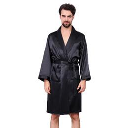 Nachtwäsche schwarzer satin online-Schwarze Männer Silky Satin Robe Langarm Nachtwäsche Übergroßen 3XL 4XL 5XL Sommer Kimono Bademantel Casual Morgenmantel Nachtwäsche