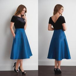 Argentina Jasmine 2018 madre de la novia vestido una línea joya mangas cortas azul tafetán té longitud más tamaño vestidos de fiesta supplier tea length taffeta plus size dress Suministro