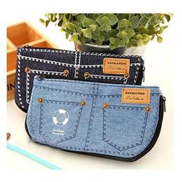 Wholesale Denim Phone Cases - Wholesale- Fashion Jean Blue Women's Makeup Bag Storage Bag Denim Purse Phone Stationery Pencil Case