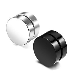 3f241b536 Chinese Black Titanium Stainless Steel Magnet Stud Earrings No Hole Ear Clip  Fashion Punk Jewelry for