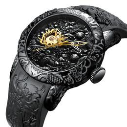 2019 horloge grosse main Hommes Montre Mécanique Hommes Grandes Montres Or Complet Noir Montre-Bracelet Créatif 3D Sculpture Dragon Laser Gravé Homme Horloge À Vent Main promotion horloge grosse main