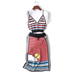 Wholesale Stripped Skirts - 3 Pieces 2018 High Quality Runway Women Stripped Crop Tops + White Tees Knitted Skirt Suits Party Beach Clothing Set DZ104