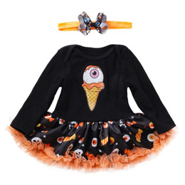 mexican long dresses Coupons - Mexican Skull Toddler Halloween Costume for Baby Girl Clothes Sets Romper Dress Headband Girls Halloween Outfits Infant Clothing