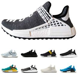 Wholesale cotton ink - Running Shoes pharrell williams Hu trail Cream Core Black white red blue nerd Equality holi nobel ink trainers Mens Women Sports sneaker