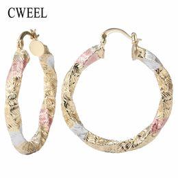 Wholesale Wholesale Indian Earings - whole saleCWEEL Earrings Hoop Earrings For Women Wedding Round Vintage Metal Indian Jewelry Earring Gold Color Fashion Boho Earings