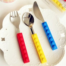 Wholesale Kids Knife Fork Sets - New Fashion Lego bricks Portable silicone stainless steel Travel Kids Adult Cutlery Fork Picnic Set Gift for Child Dinnerware
