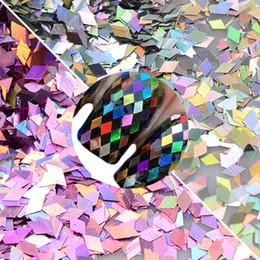 Wholesale Cheap Art Decor - Cheap nail sequins 12 Color Rhombus Laser Sequin Nail Art Sparkly Slice Paillette 3D Salon Decor Accessory for DIY Glitter Flake Set CHLS