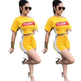 Оптовая 2019 дизайнер женские спортивные костюмы комплект женской одежды SUPER Letter Top футболка + спортивные штаны для девочек повседневные спортивные костюмы от