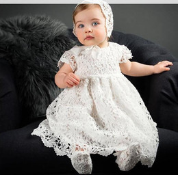 Wholesale baby girl newborn gowns - 2018 baby girl baptism gown christening dress Girls Dresses lace white baby Princess Dresses Newborn wedding dress baby girl clothes