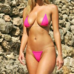 2019 bikini viola delle donne Senza soluzione di continuità invisibile mini micro bikini set donne sexy costume da bagno costumi da bagno brasiliani costume da bagno spiaggia biquinis top + infradito stringhe