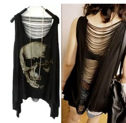 Wholesale Vintage Tee Shirt Designs - SKULL PUNK Singlet Tank Top Women Vintage Tassel Design Back Holes Long Tee T Shirt Summer Clothing for Female