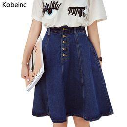 f75cc59509 Summer Retro Blue Jean Skirts Slim High Waist Faldas Mujer Loose Hem  Girlish Washed Denim Skirts Single Breasted Women Saias on sale. 33% Off