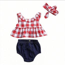 Canada 3PCS Enfant Vêtements Pour Enfants 2018 Été Rouge À Carreaux Jupe T-shirt Tops + Denim Shorts Bloomers Bandeau Outfit Enfants Vêtements Ensemble Offre