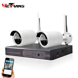 Wholesale 2ch Video - Video Surveillance System Wifi NVR 4CH P2P HD 720P IR Night Vision Wireless Home IP66 Waterproof Outdoor Wifi Camera Kit 2CH