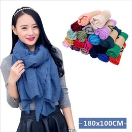 Wholesale Hijab Voile - New Cheap Solid Spring Autumn Fashion Female Scarves Women Shawl Scarf Thin Voile Knitted Ponchos hijab foulard sjaal cachecol