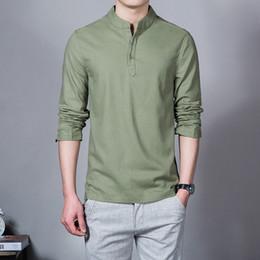f12559884a Camisas de manga larga de los hombres de la moda Camisa de lino ocasional  masculina Marca de los hombres más Tamaño Asiático Camisas