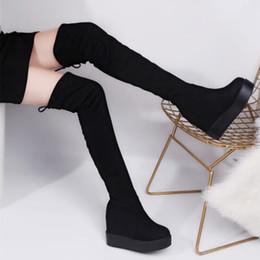 450d773d Muslo Botas altas Plataforma Botas de invierno Mujer Botas sobre las rodillas  Tacones altos Zapatos de piel cálidos Mujer Largo plataforma de cuña rodilla  ...