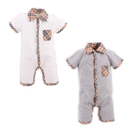 Wholesale Boys Plaid Summer - Summer Style Baby Boy Romper Newborn Baby Clothes pajamas New Born Baby Girl Clothing Ropa Bebe Children Toddlers Rompers HB022