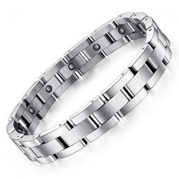 Cadena de mano magnética online-NewPopularJewelry Silver Men Hand Chain Energy Health Germanium Magnetic Bracelet Hombres Pulseras de acero inoxidable para mujeres Hombres