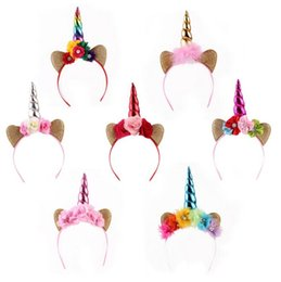 Fascette a fascia online-INS Baby Unicorn Party Hair Sticks Bambini Festa di compleanno Flower Hair Clasp Cosplay Crown Baby Cute Lovely Unicorn Headband Cat Ears
