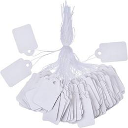 Papier kleidung tags online-SF 100 teile / los blank Weiß Preisschilder papier Kennzeichnung Tags Schmuck Kleidung Preisschilder produkte Display Tags mit Hängende String 1,2 * 2,5 cm