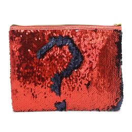 Maletín de lentejuelas online-Bolso cosmético del bolso de embrague de las nuevas señoras de las lentejuelas bolsa de almacenamiento conveniente maletín escalas de los pescados bolsos de la manera
