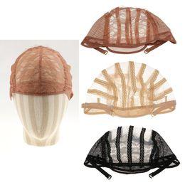 encaje de pelo completo Rebajas Pelucas gorros para hacer pelucas correas ajustables espalda encaje suizo frente completo encaje peluca gorra peluca tejido neta extensión del pelo