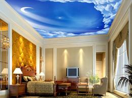 soffitti stellati Sconti Stelle, luna, cielo Soffitto murales 3d Soffitti Murale Carta da parati per pareti Soggiorno 3d Soffitto Murales 3d Adesivo in carta da parati