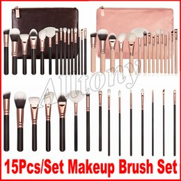 Wholesale Faces Brushes - Brand Makeup Brush 15pcs set face Brushes Kit Powder Brush Kit Blush Brush Eye shadow make up brushes with bag