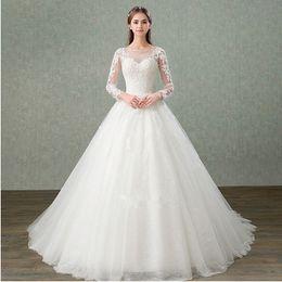 2019 сделать фото черный белый Bateau Neck Tulle A Line Свадебные платья с длинными рукавами 2019 Кружевные аппликации Свадебные платья Lace Up Back