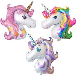 Palloncini di nozze viola online-50pcs Giant Unicorn Balloon Party Supplies Decorazioni per feste di compleanno Rainbow Purple Pink Balloons Foil Balloons Wedding