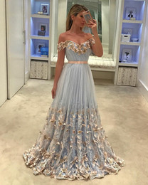 Wholesale vintage butterfly sleeve dress - 2018 Newest 3D Butterfly Prom Dresses A Line Formal Women Evening Wear Off the Shoulder Sweep Train Cheap Party Gowns