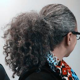 Kadınlar gri saç uzatma gümüş gri afro kinky kıvırcık İpli insan saçı ponytails hairpieces klip gerçek saç 100g 120g nereden