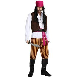 Pirate party supplies online-2018 Hombres Masculino Pirata Cosplay Traje Rendimiento Piratas Disfraces Adultos Mascarada Vestido de Fiesta Suministros Purim